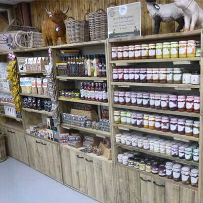 Bespoke shelved especially for our farmshop displaying jams and chutneys