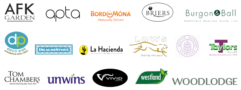 Our suppliers: AFK Gardens, Apta, Bord na Mona, Briers, Burgon & Ball, Deco-pak, Dragonstone, La Hacienda, Lows of Dundee, Rustic Gardens, Taylors Bulbs, Tom Chambers, Unwins, Vivid Arts, Westland, Woodlodge