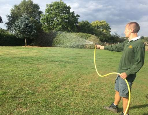 Watering lawn with hose