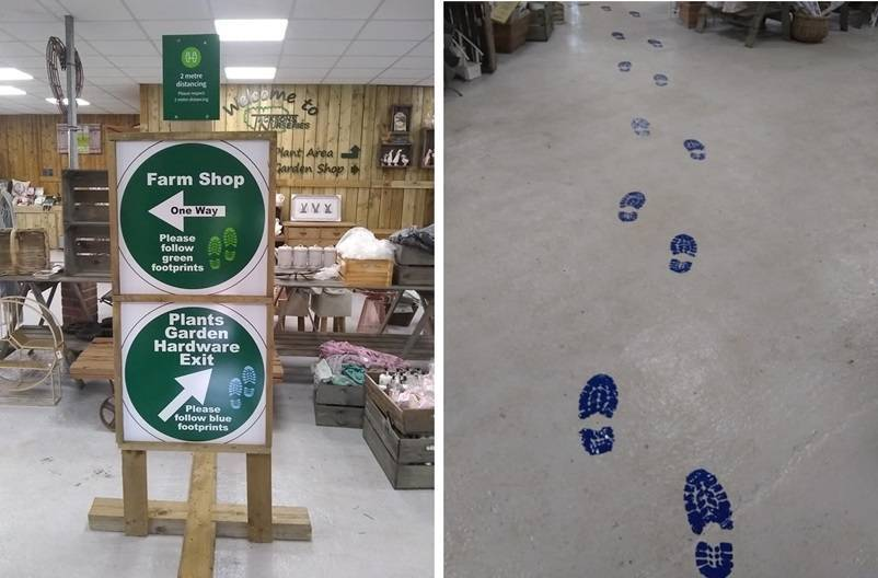 Signs and footprint markers resized