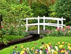 White bridge and flower garden design