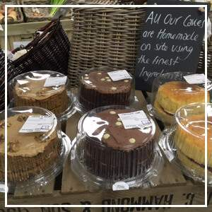 Cakes for sale in our farm shop